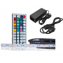 TIRA LED 5MT.60L/M RGB IP33 CONTROLADOR IR+FUENTE