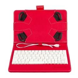 """Funda 7""""-8"""" silver HT con teclado (cable) rojo/blanco"""