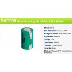 BATERIA 1/2AA 2/3AA 1,2V 650MAH TERMINAL