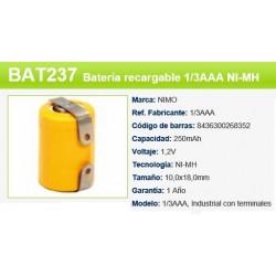 BATERIA BAT237 1,2V 250MAH 1/3AAA TERMINALES