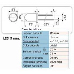 LED 5MM BLANCO HT504