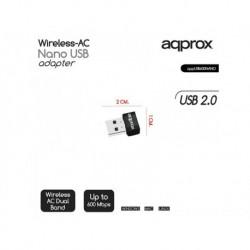 ADAPTADOR USB WIFI 600MBPS APPROX APPUSB600NANO