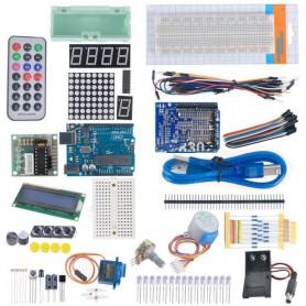KIT PRIMEROS PASOS CON UNO-R3 + MOTOR+LCD+PLACA+PUENTES COMPATIBLE ARDUINO