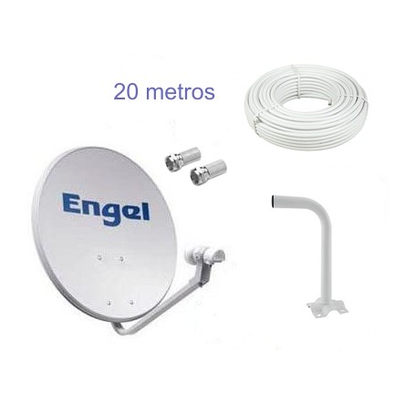 KIT ANTENA PARABOLICA ENGEL 60 cm +LNB + SOPORTE PARED+20MTS CABLE COAXIAL