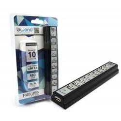 HUB USB 10 PUERTOS CON ALIMENTADOR